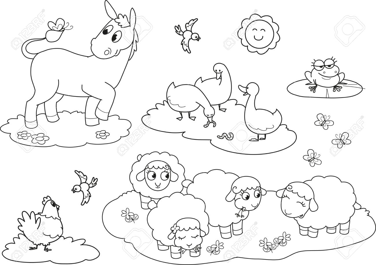 Set of coloring farm animals for children donkey goose hen sheeps and frog Stock Vector - 15173867