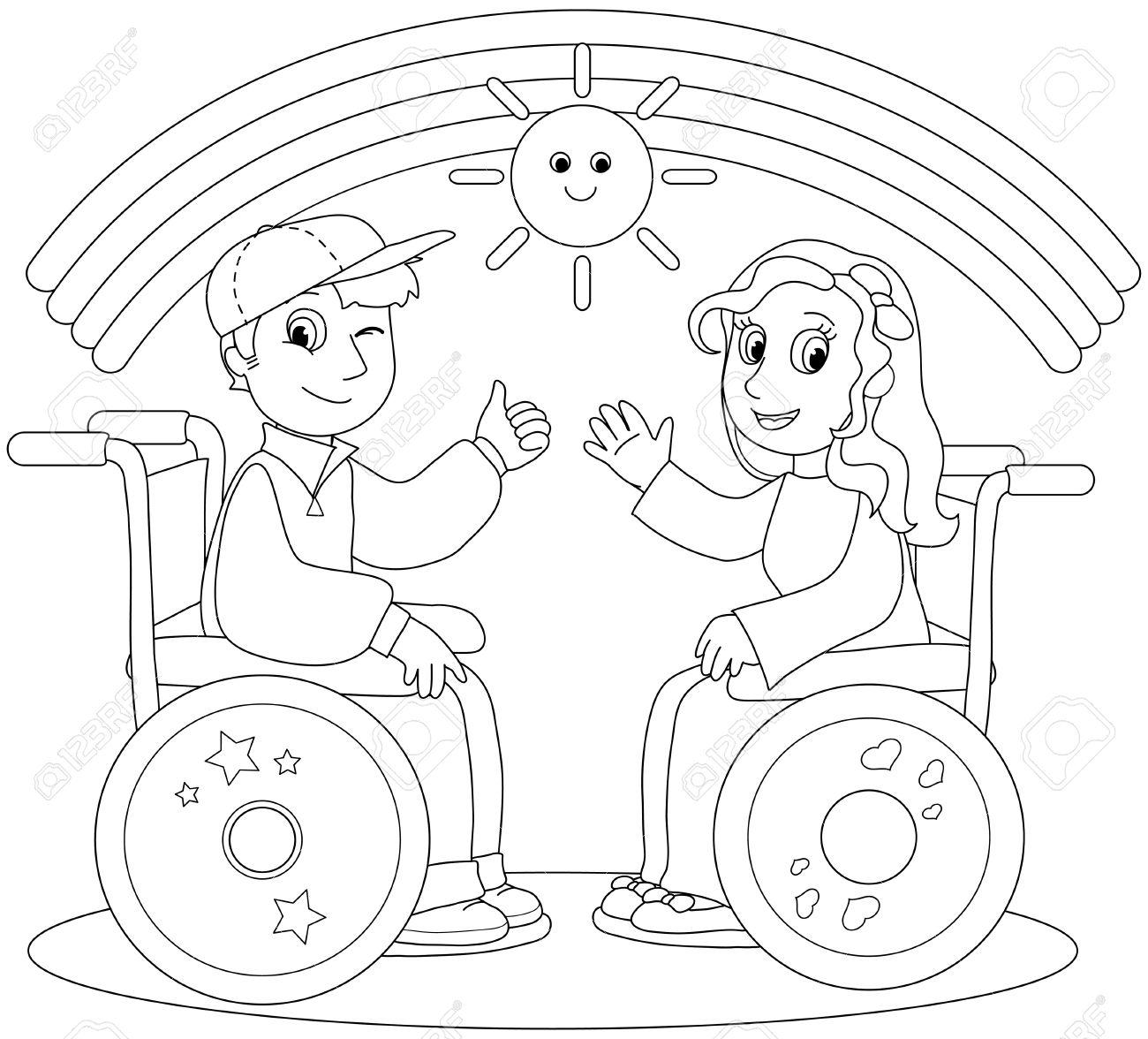 Ilustración Para Colorear De Niño Sonriente Y Una Niña En Silla De