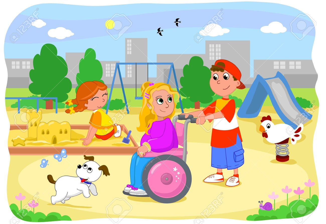 Pretty blond girl on wheelchair at the playground with friends Stock Vector - 15300877