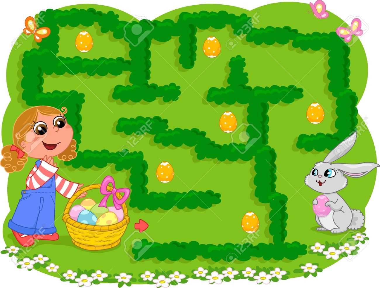 Game for little children  How many Easter eggs can the girl collect before going to the bunny Stock Vector - 15300875