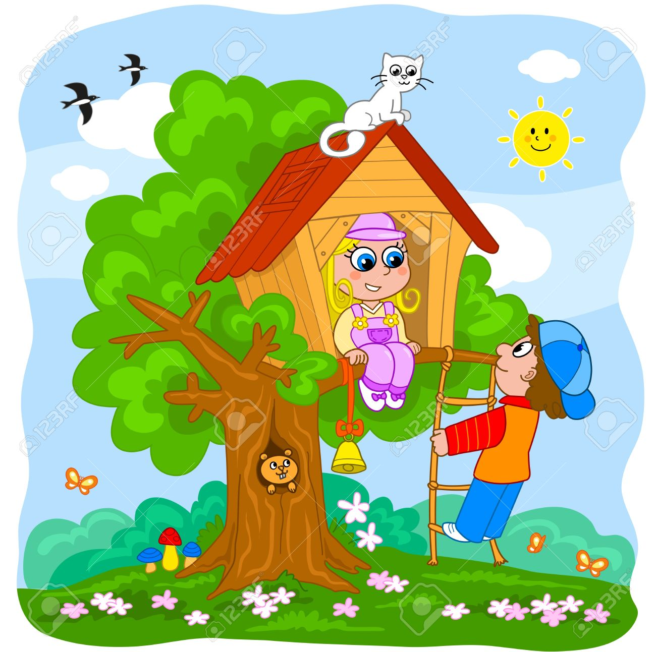 vector young boy and girl playing in a tree house cartoon illustration for little kids treehouse inside31 inside