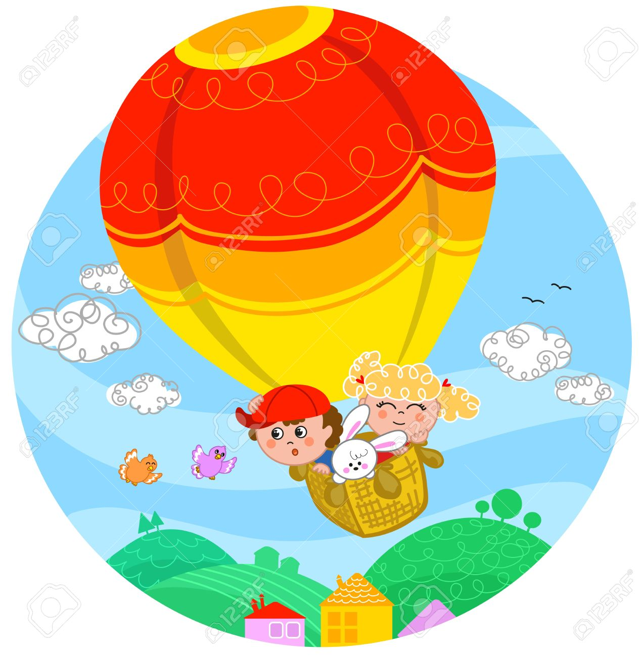 Two cute children and a white bunny flying with hot air balloon Stock Vector - 15537890