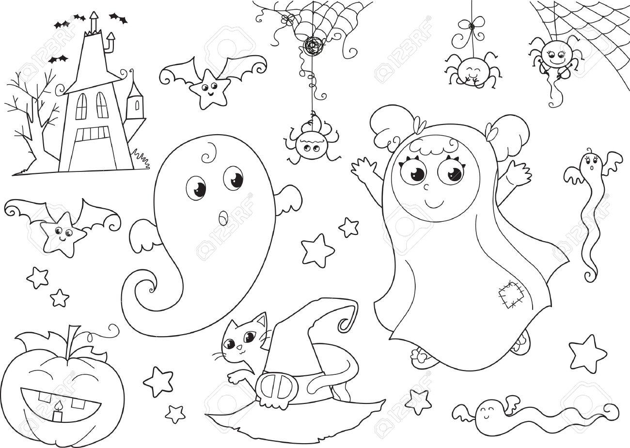 Coloriage Halloween Set Fantômes Mignons Fille Masquée Maison