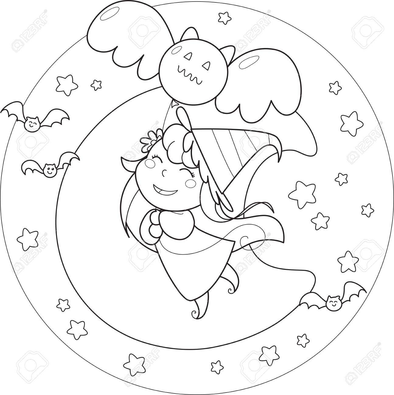 Coloring Halloween flying witch with balloon in the moonlight Stock Vector - 15568946