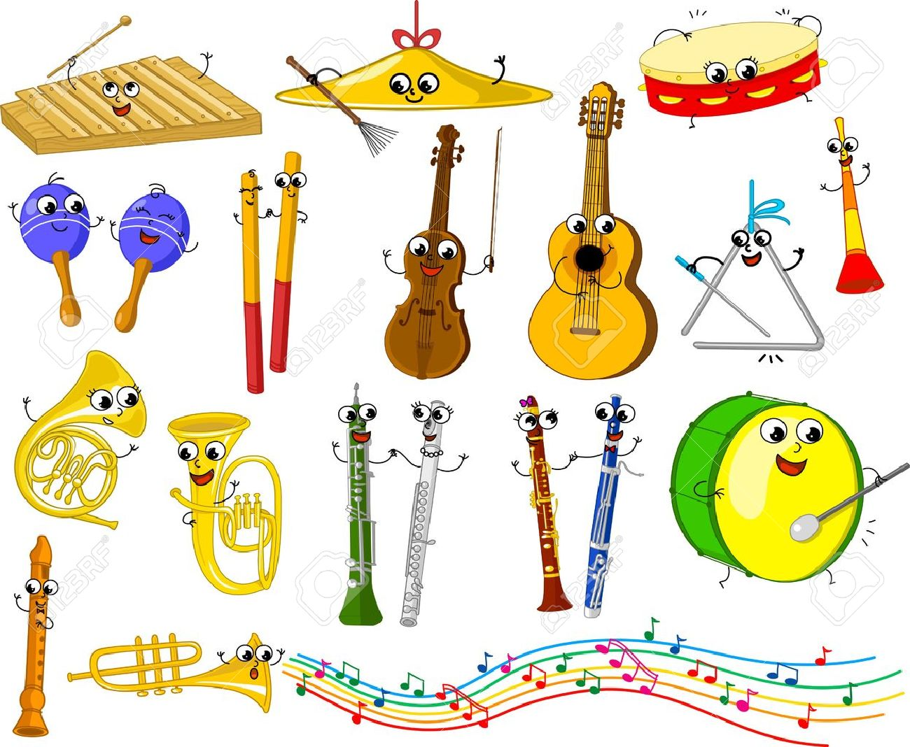 Set of funny cartoon musical instruments for kids Stock Vector - 15596556