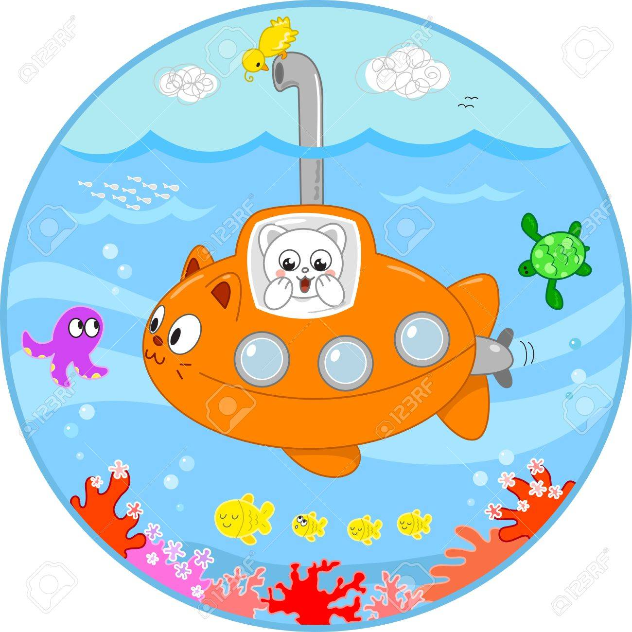 Cute cat in a submarine looking with surprise at the sea life under water Stock Vector - 15712033