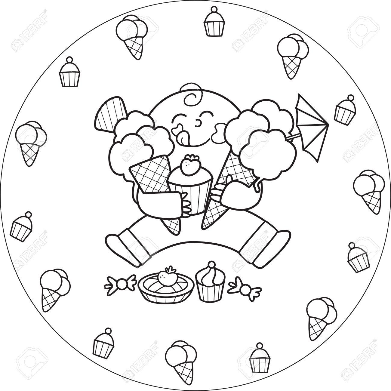 Colorear Niño Comiendo Un Helado Y Todo Tipo De Dulces Ilustraciones