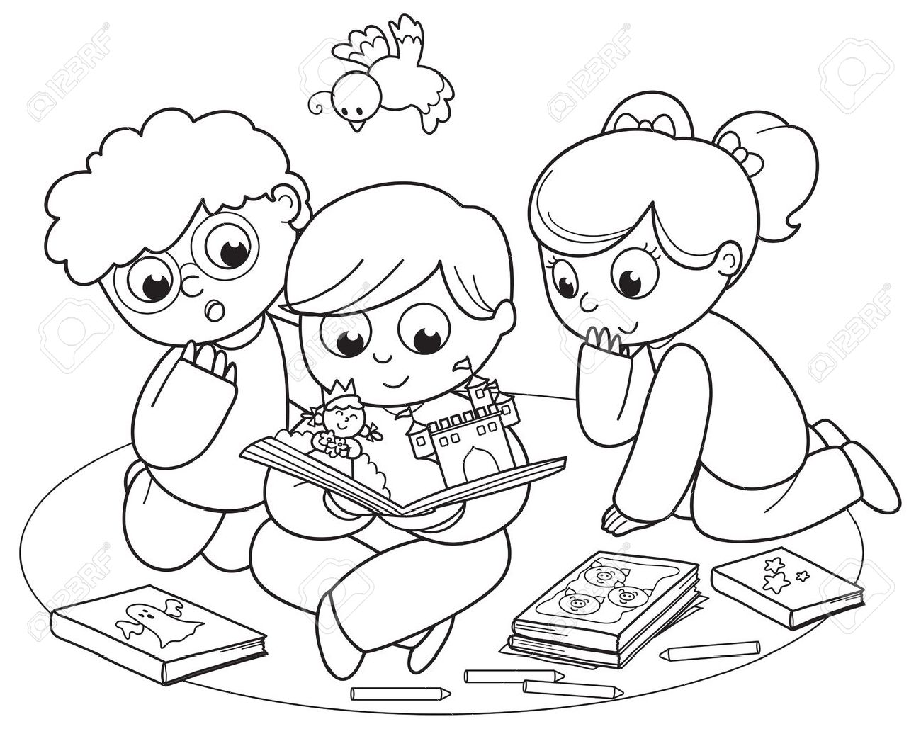 Coloring illustration of friends reading a pop-up book together Stock Vector - 15808979