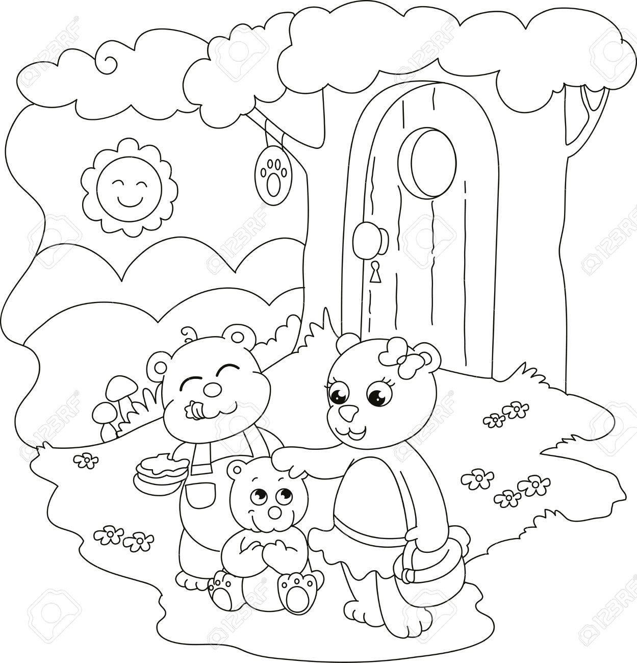 Vettoriale 3 Orsi Vicino A Un Albero Casa Illustrazione Da