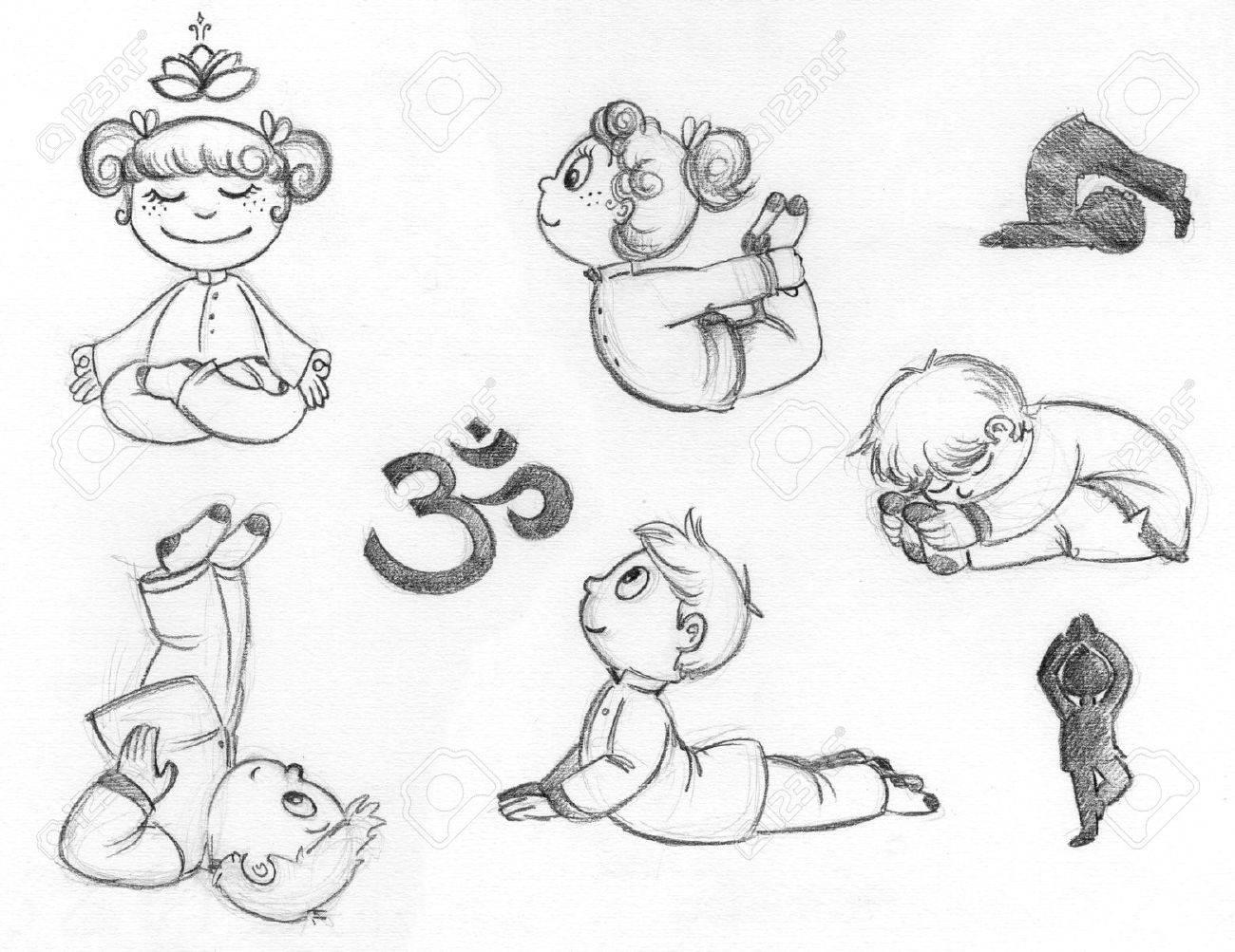 Kleine Kinder üben Yoga-Positionen Hand Gezeichnete Illustration ...