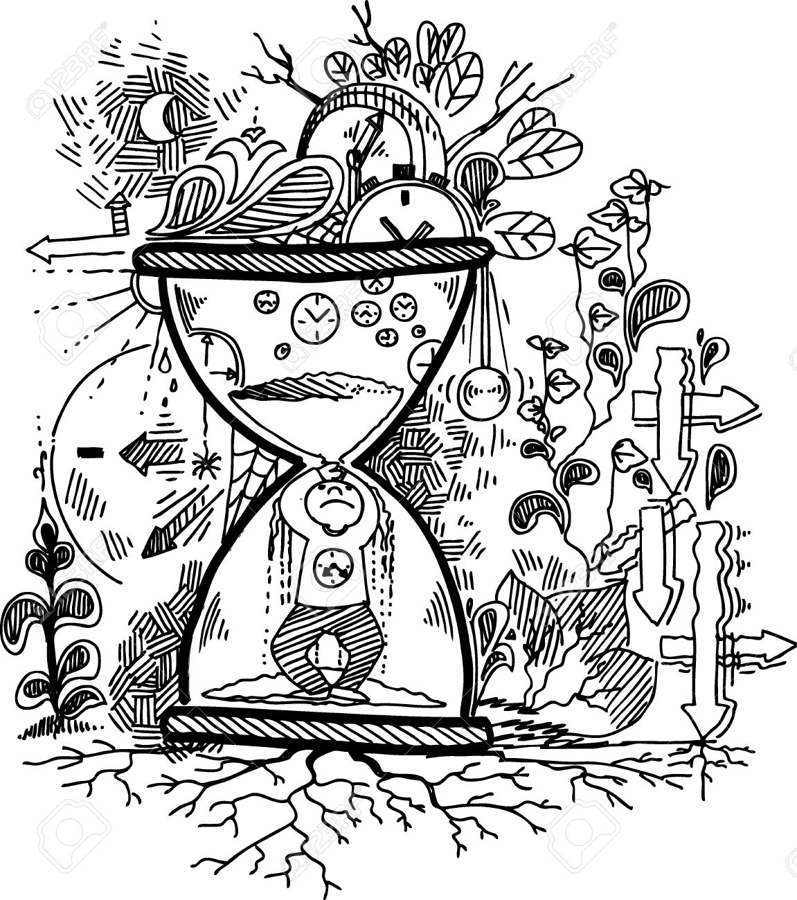 Sketchy doodles with stressed man trapped in an hourglass Stock Vector - 17873675