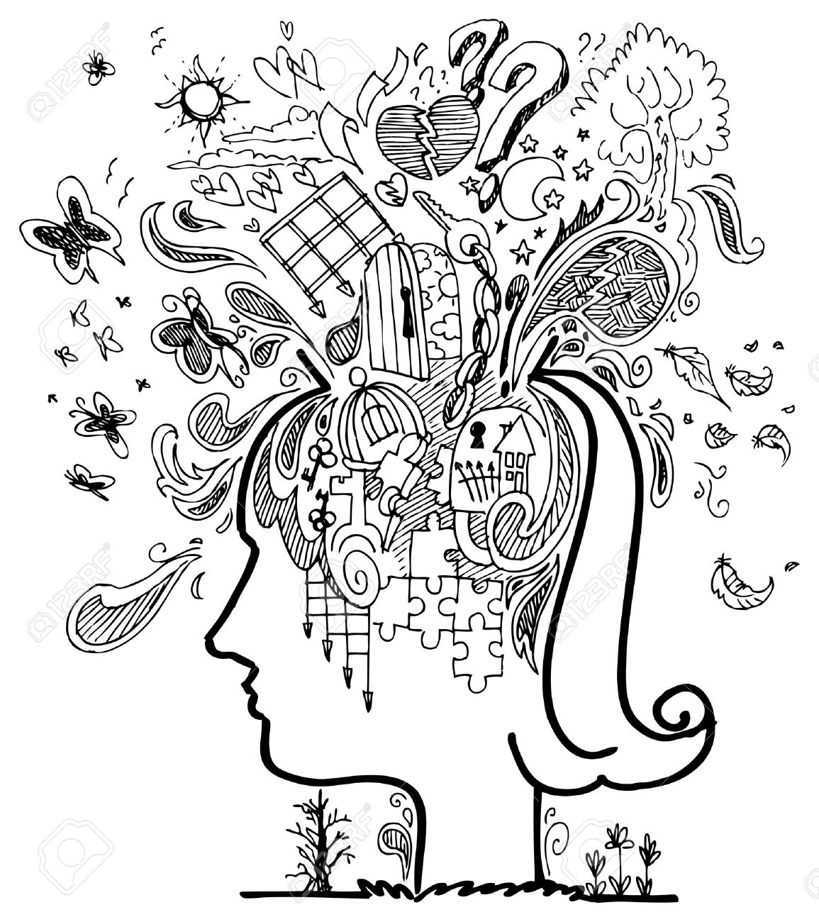 Woman head full of confused thoughts Stock Vector - 17873688