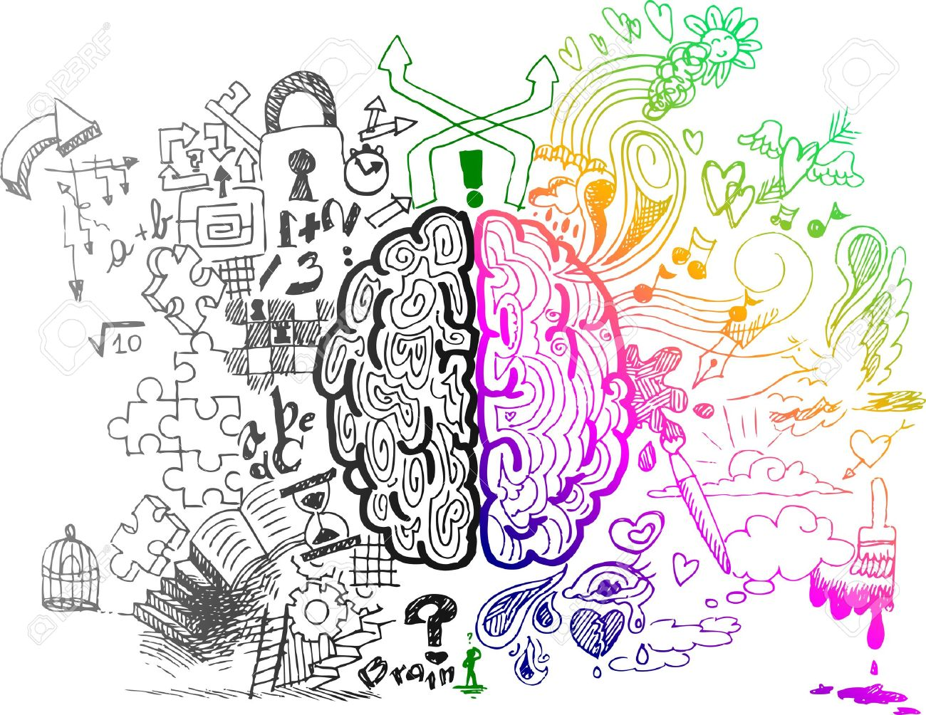 Left and right brain hemispheres sketchy doodles Stock Vector - 17873696