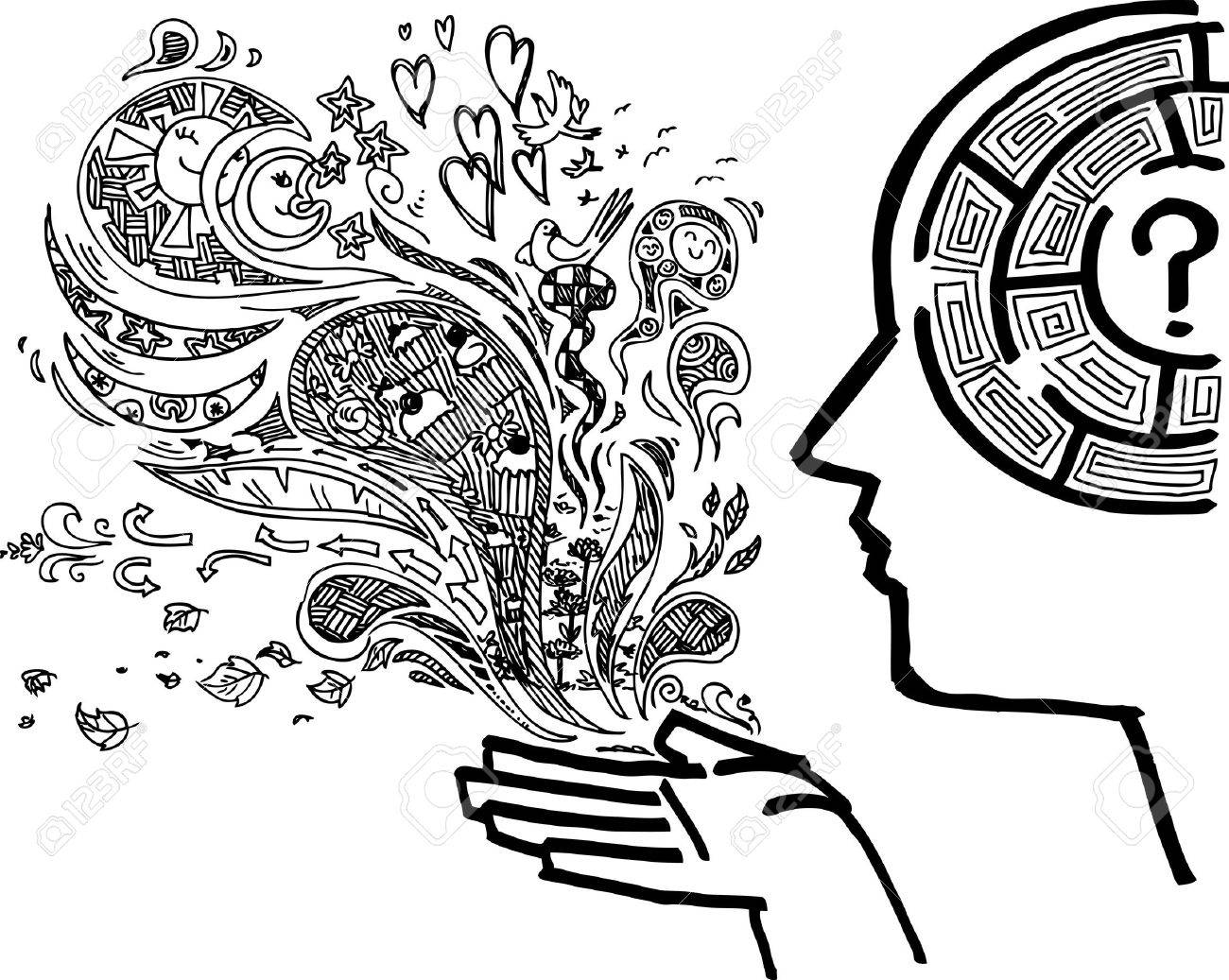Man profile with maze in the brain sketchy doodle Stock Vector - 17927768