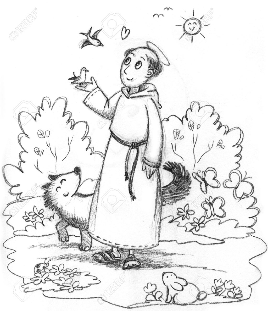 Saint Francis of Assisi Coloring Page - TheCatholicKid.com | 1300x1120