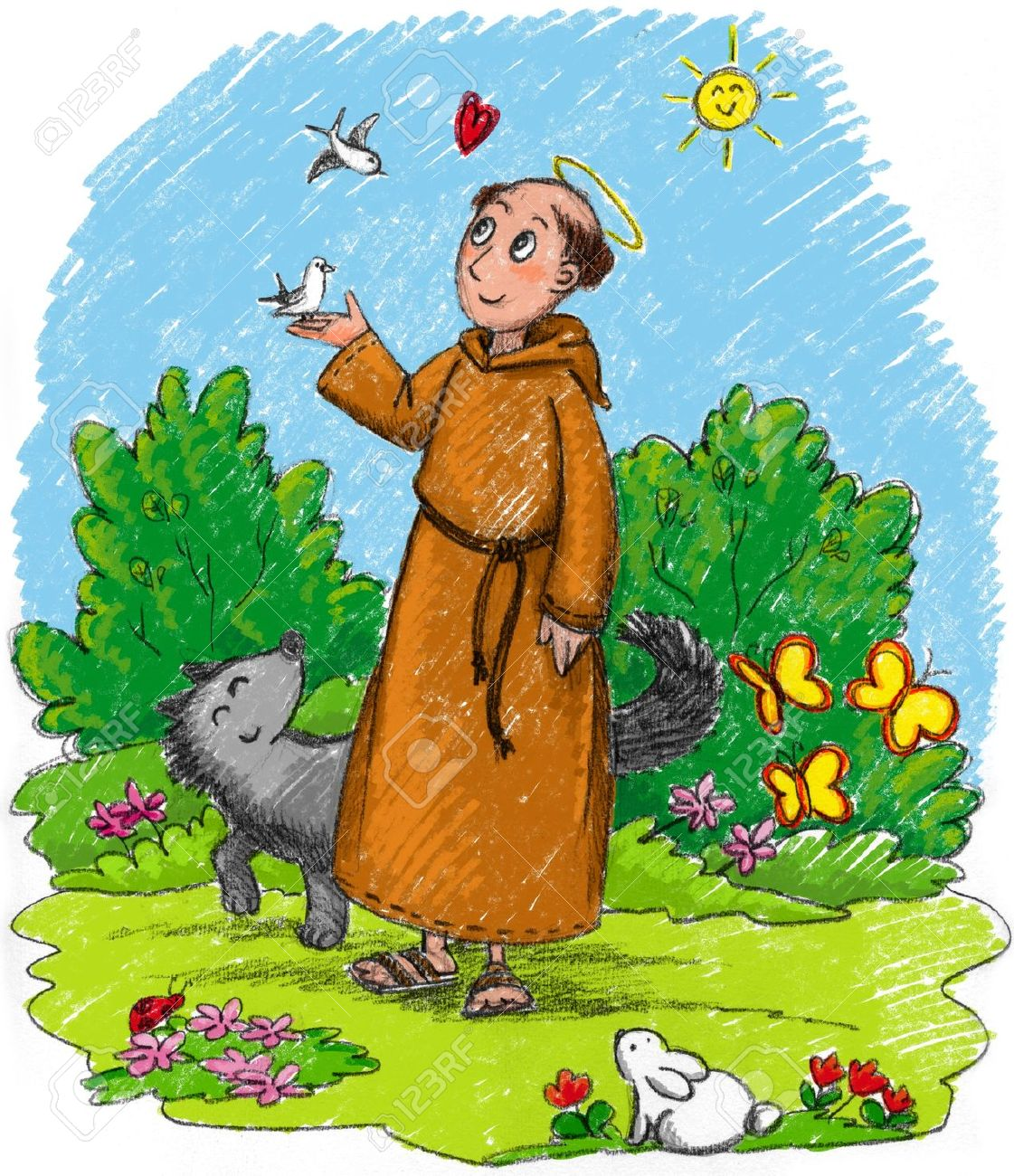Saint Francis of Assisi in a wood with wild animals Stock Photo - 18463643