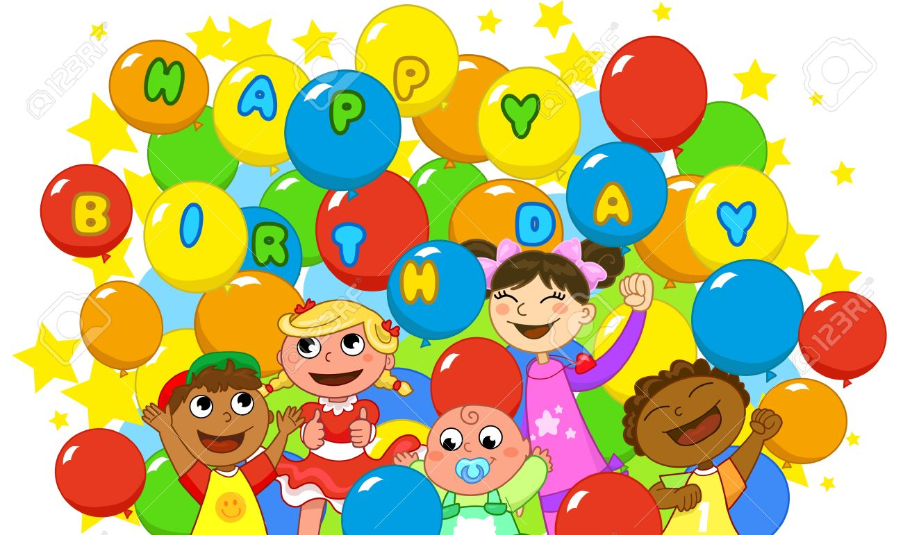 Super Happy Birthday Children And A Lot Of Balloons Royalty Free  YR36