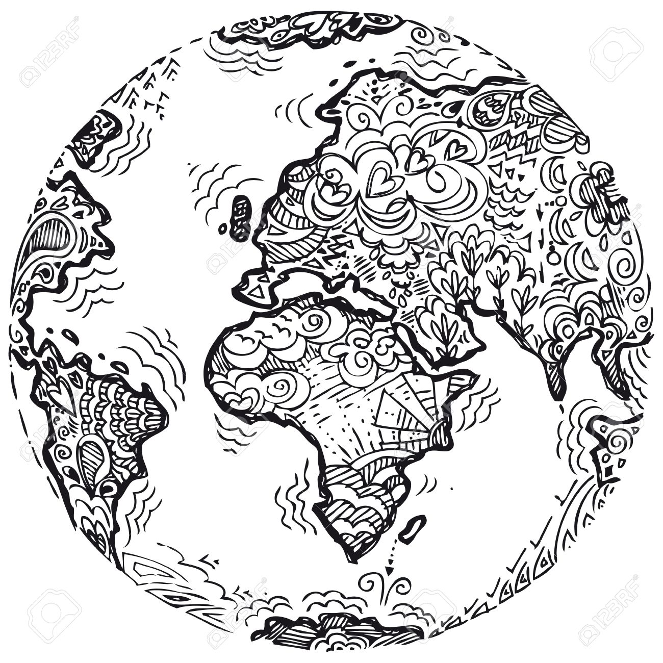 planet earth sketched doodle royalty free cliparts vectors and