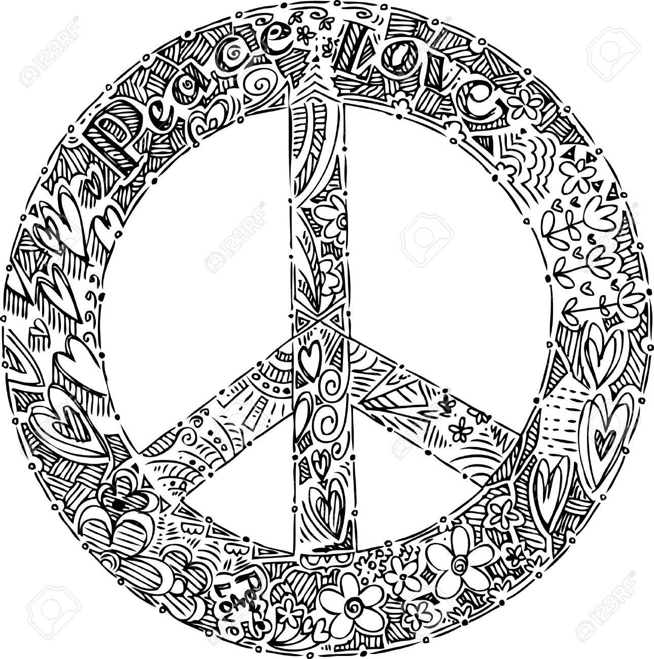 Black And White Peace Symbol Royalty Free Cliparts Vectors And