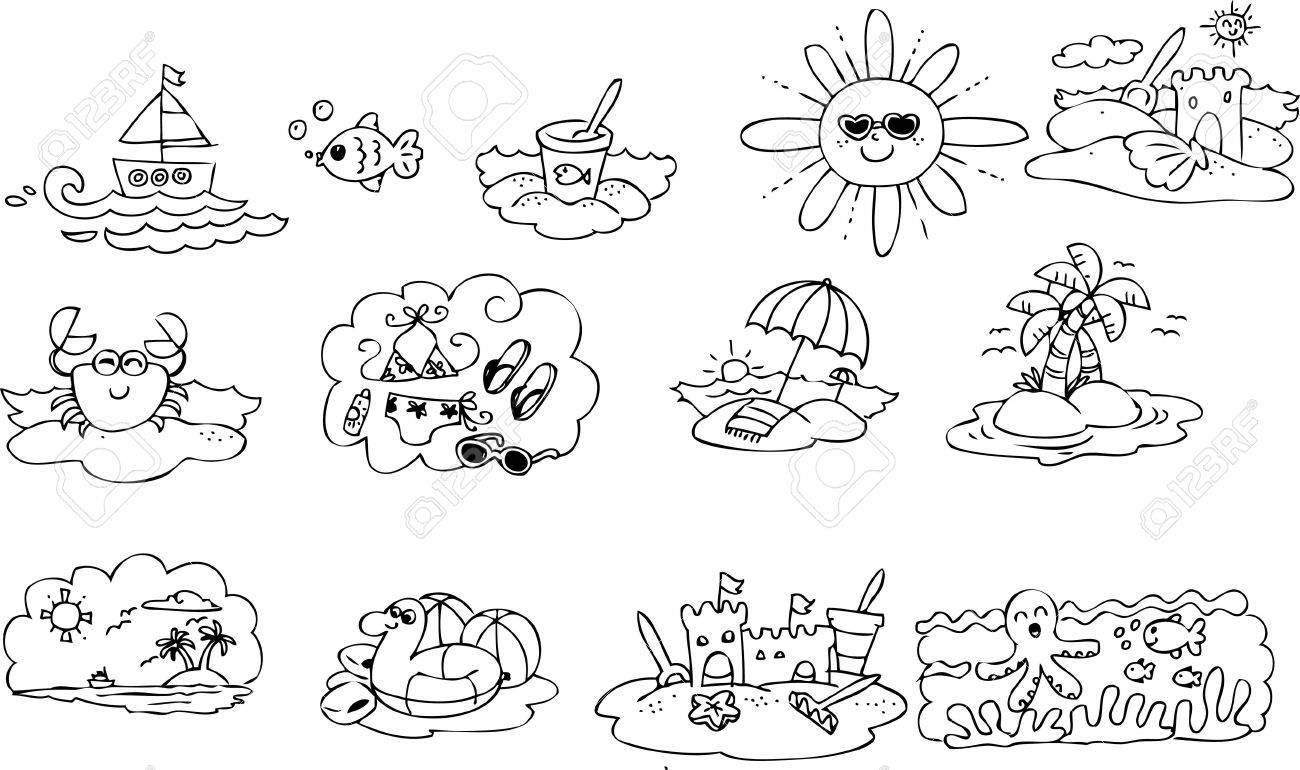 Colorear Los Elementos De Verano Para Niños Ilustraciones ...