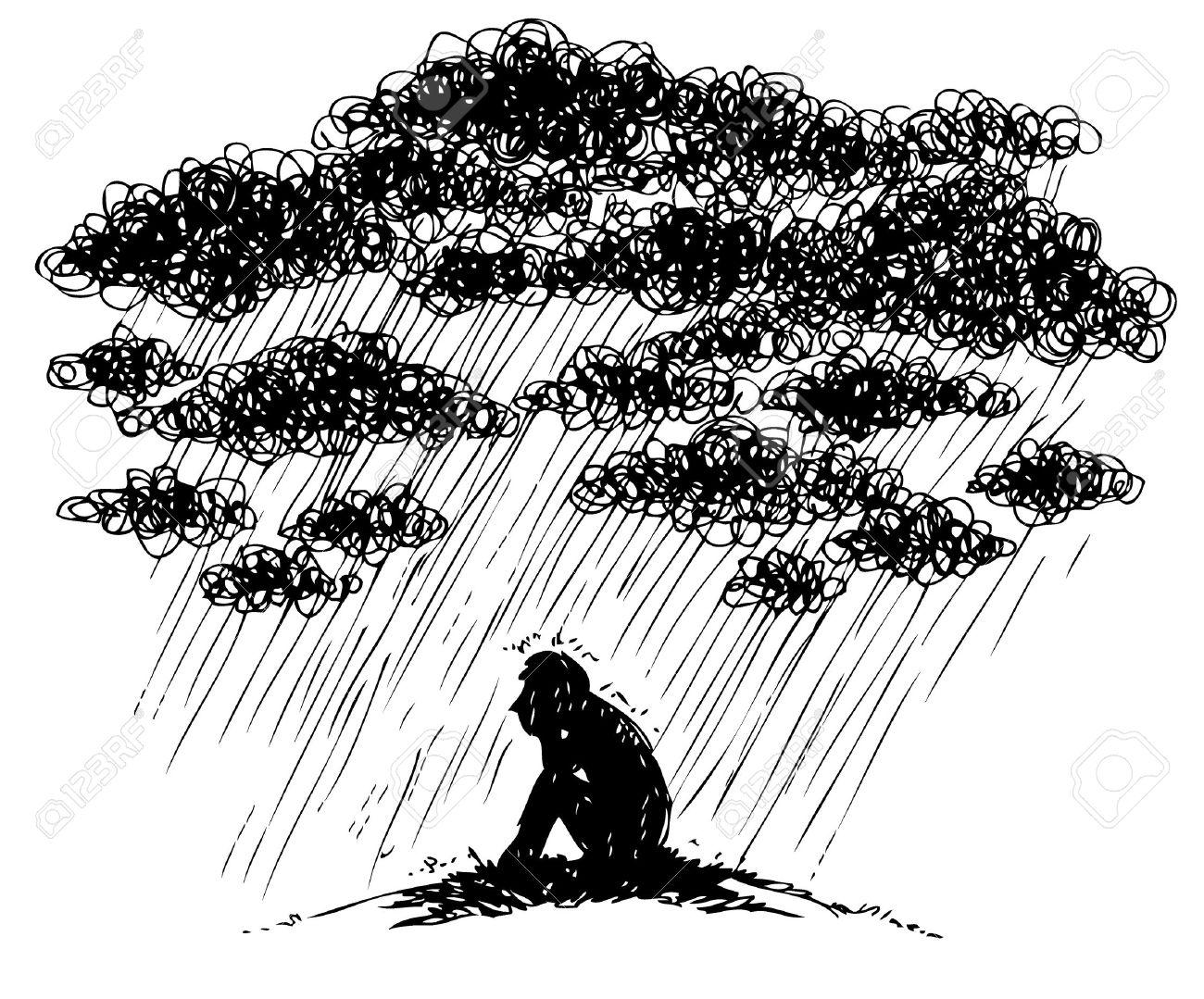 Sad man under a stromy rain, sketchy illustration - 23660490