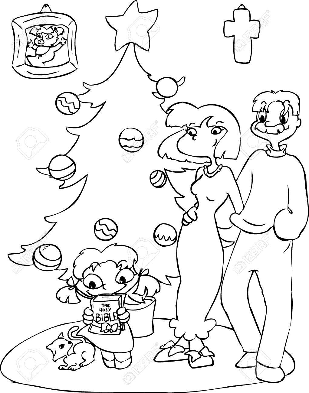 Family near a Christmas tree  The girl is receiving a Holy Bible Stock Vector - 23660500