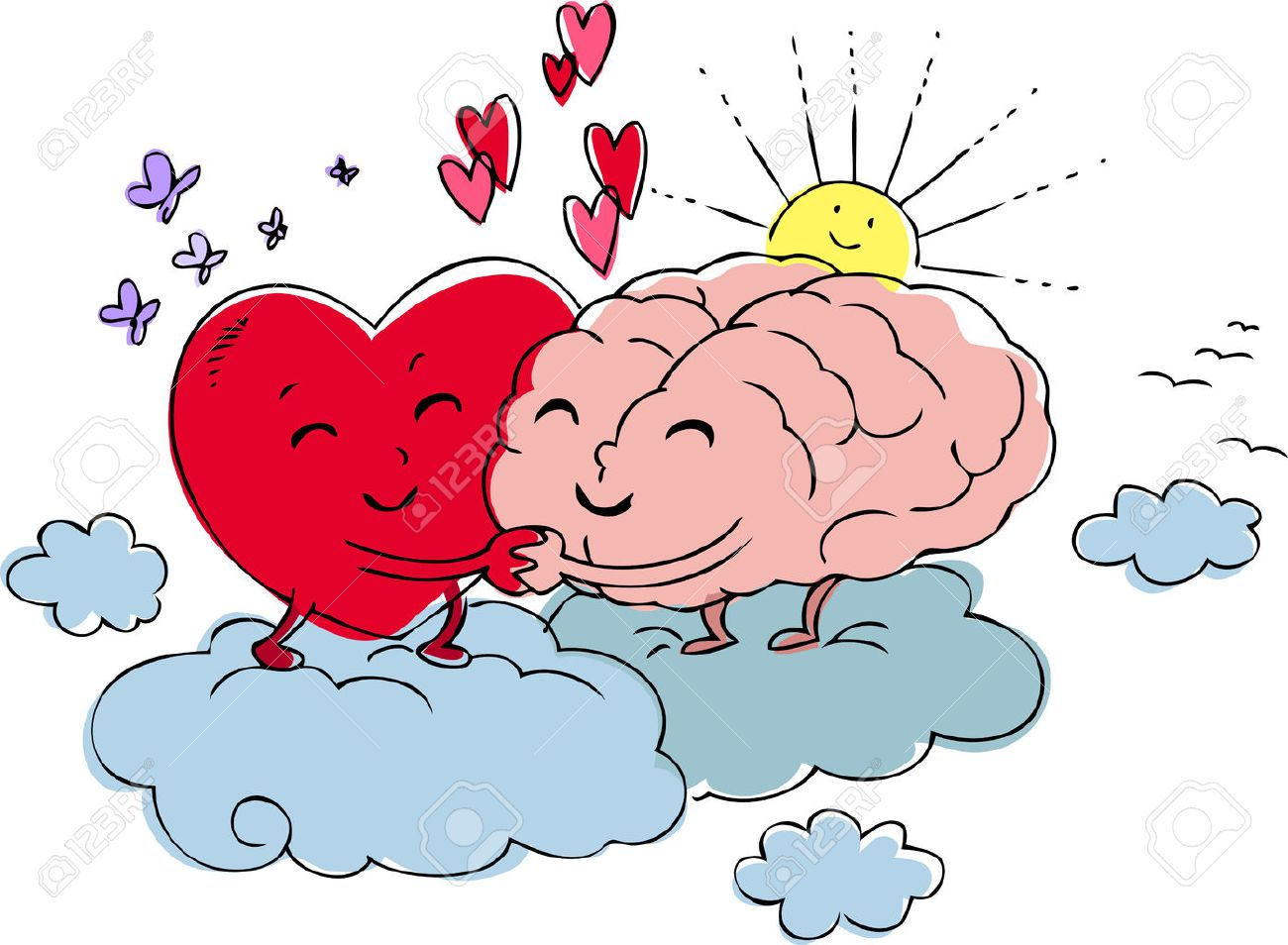 Heart and brain embrace each other with love Stock Vector - 24231328