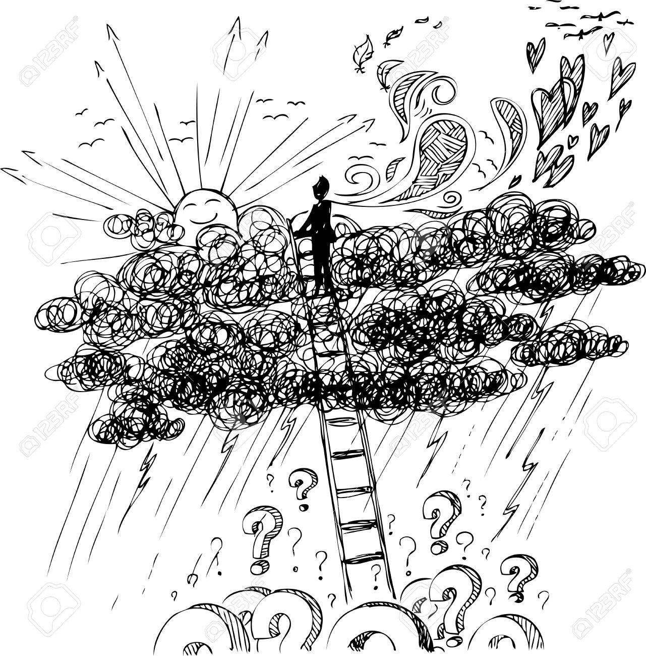Man reaching the sun with a stair above a storm Stock Vector - 25332453