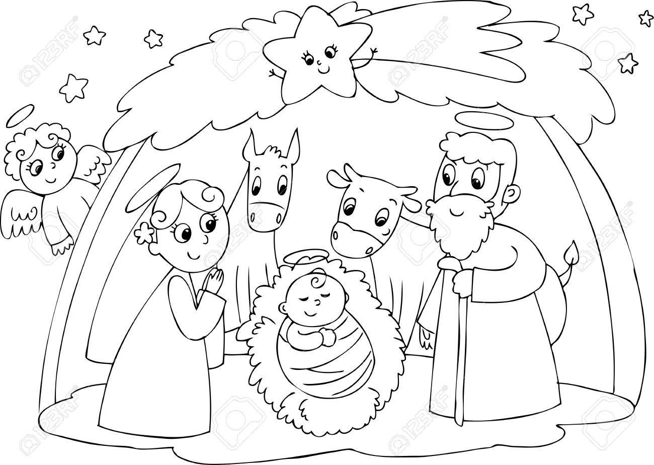 Colouring sheets nativity scene - Christmas Nativity Scene Jesus Mary And Joseph Stock Vector 26078729