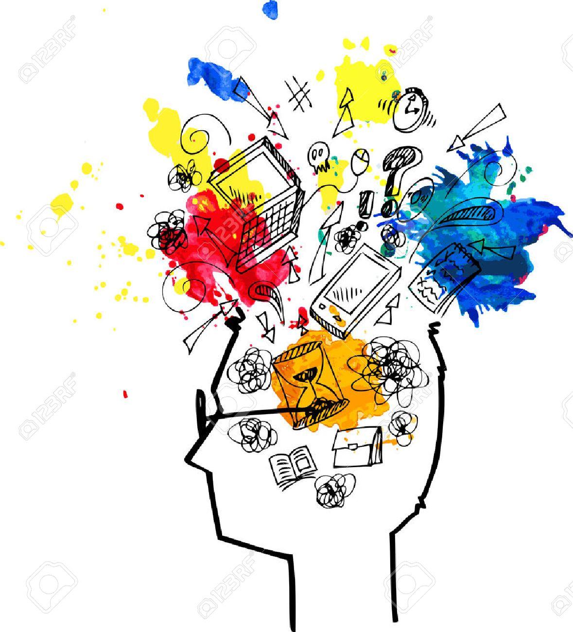 男は混乱している思考の完全な頭部のイラスト素材・ベクタ - Image ...
