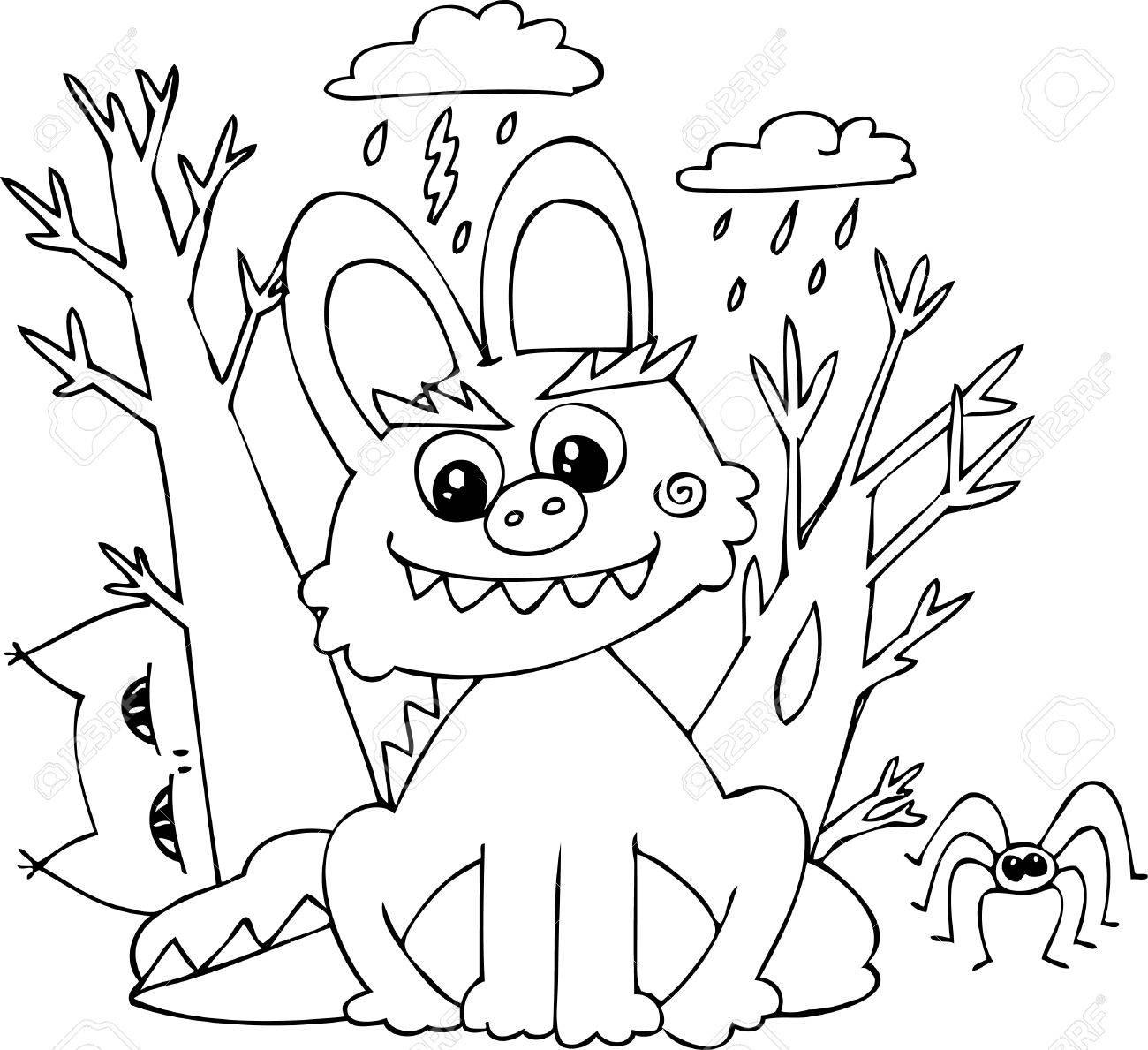 Halloween Malvorlagen Hase Monster In Einer Sturmischen Nacht