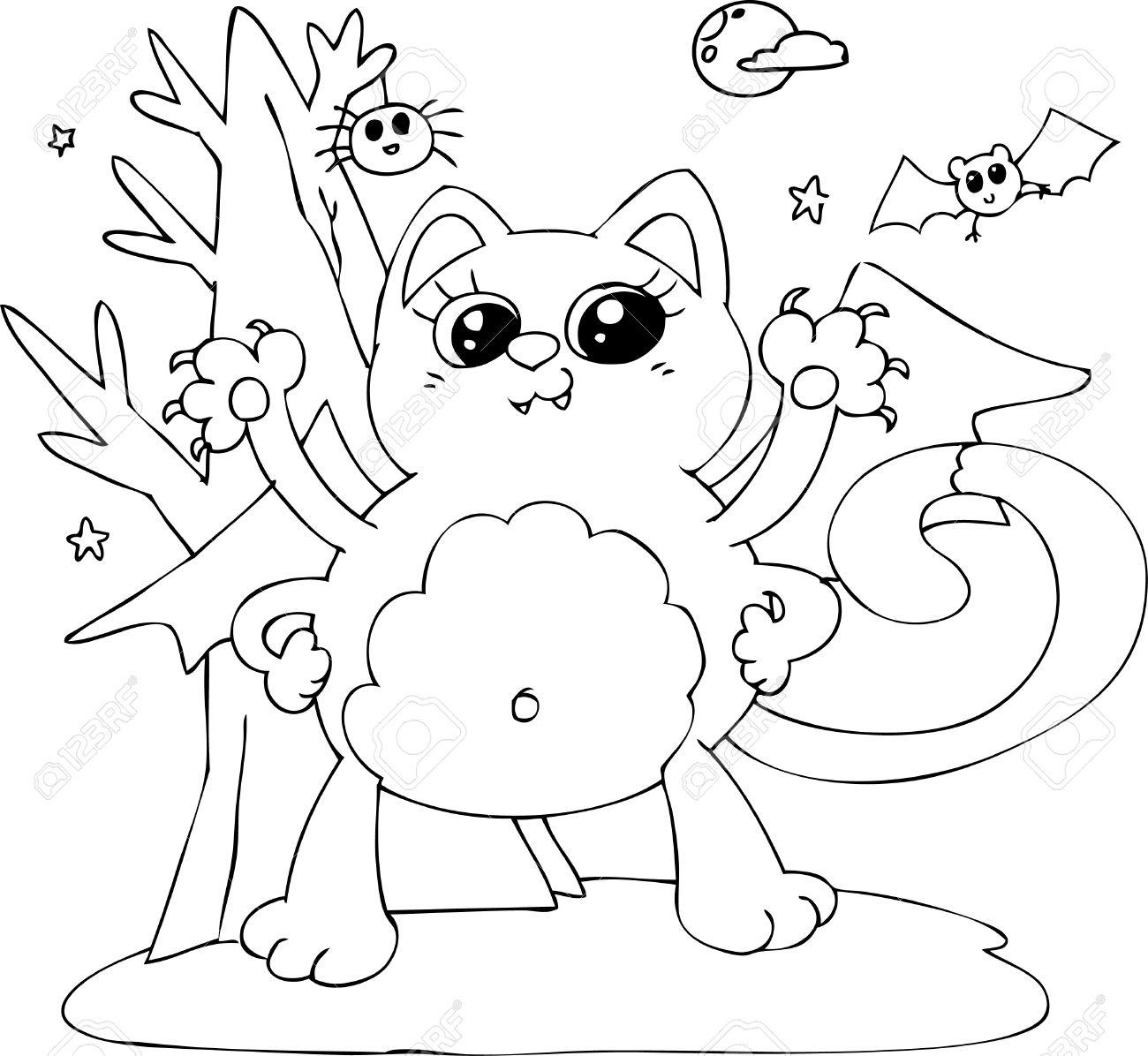 Monstruo Gato Para Colorear De Halloween Con Alas De Murciélago