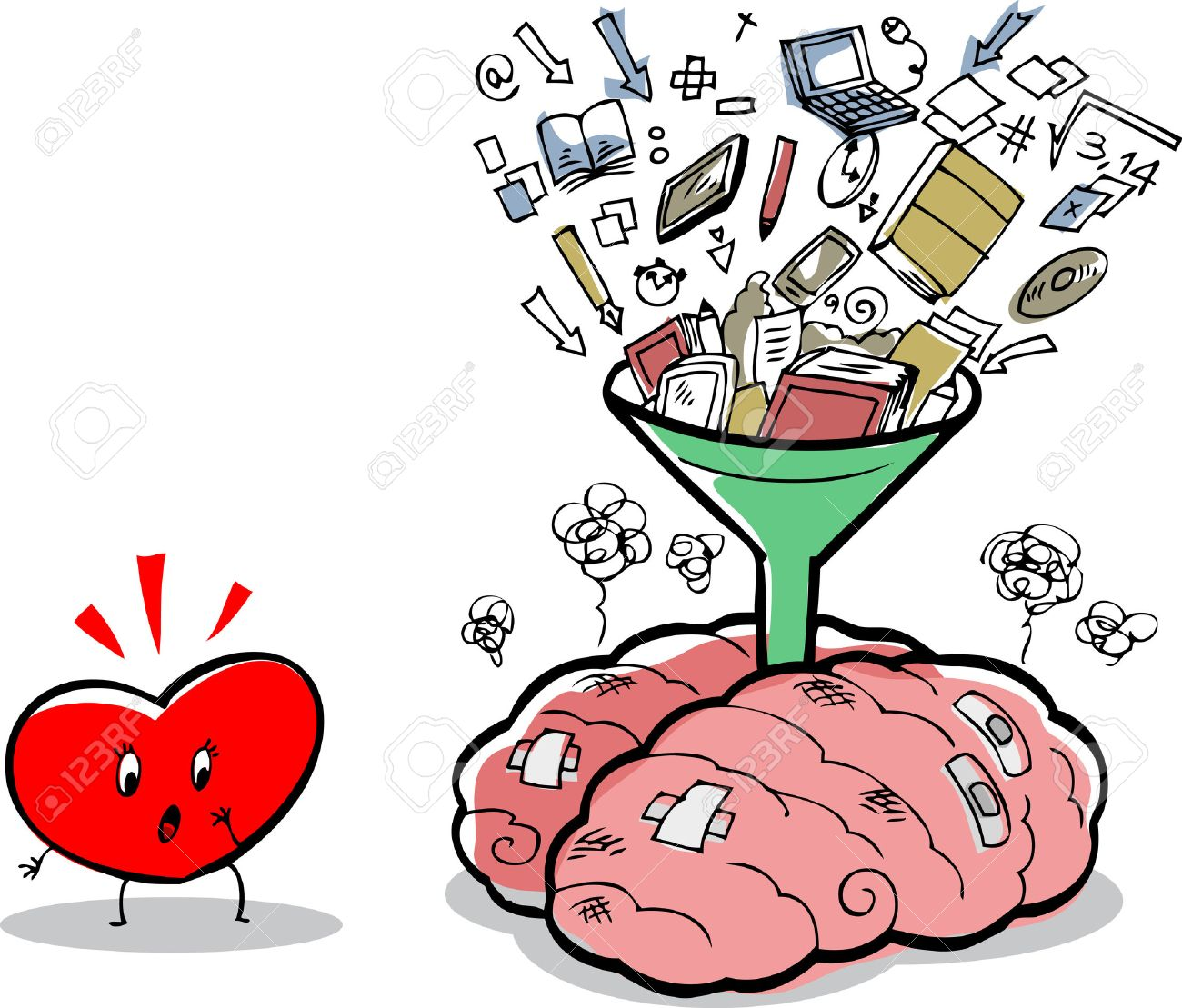 Messy brain full of notions and things, near a puzzled heart Stock Vector - 30190729