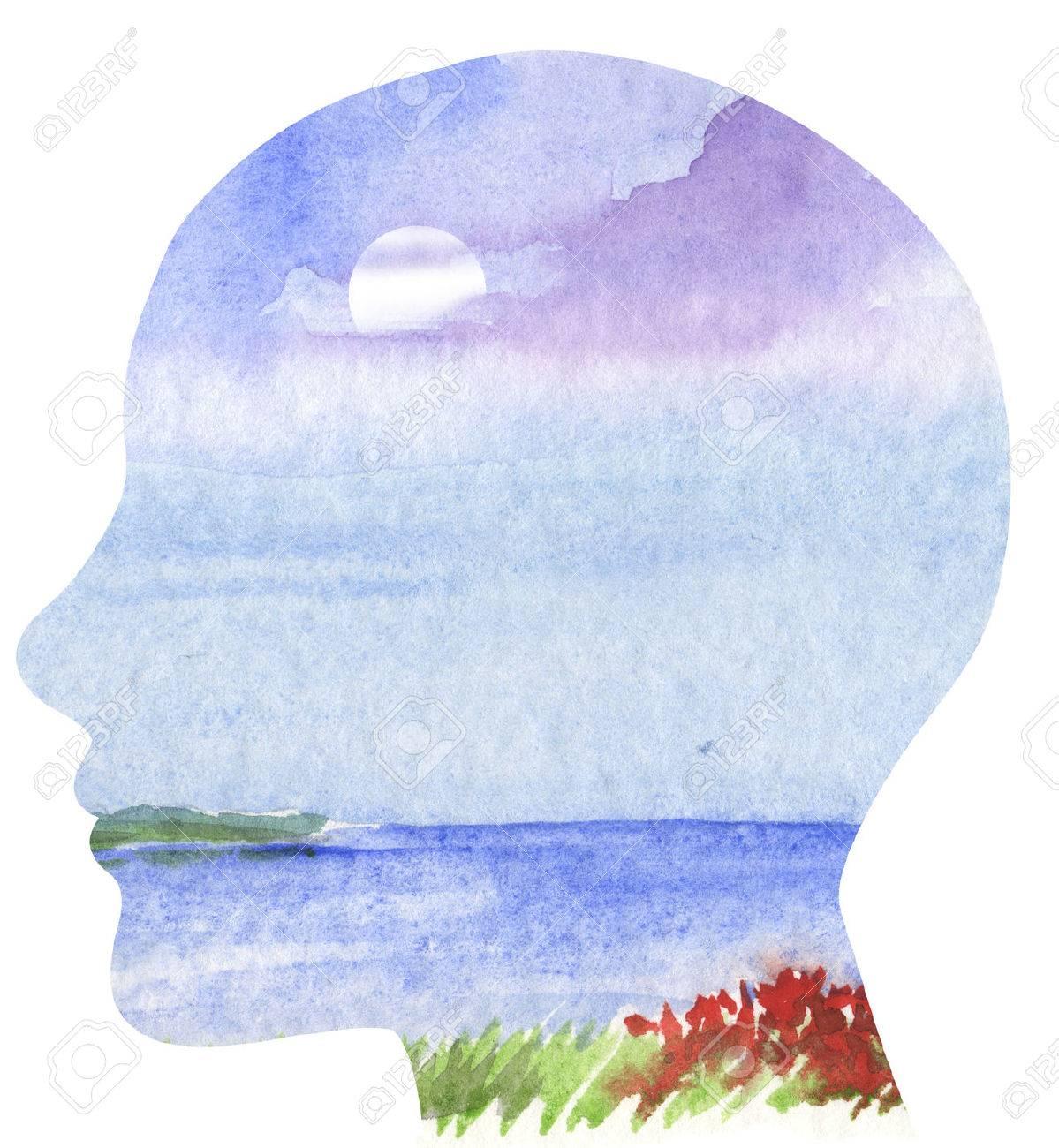 Human profile with sea landscape - 34309695