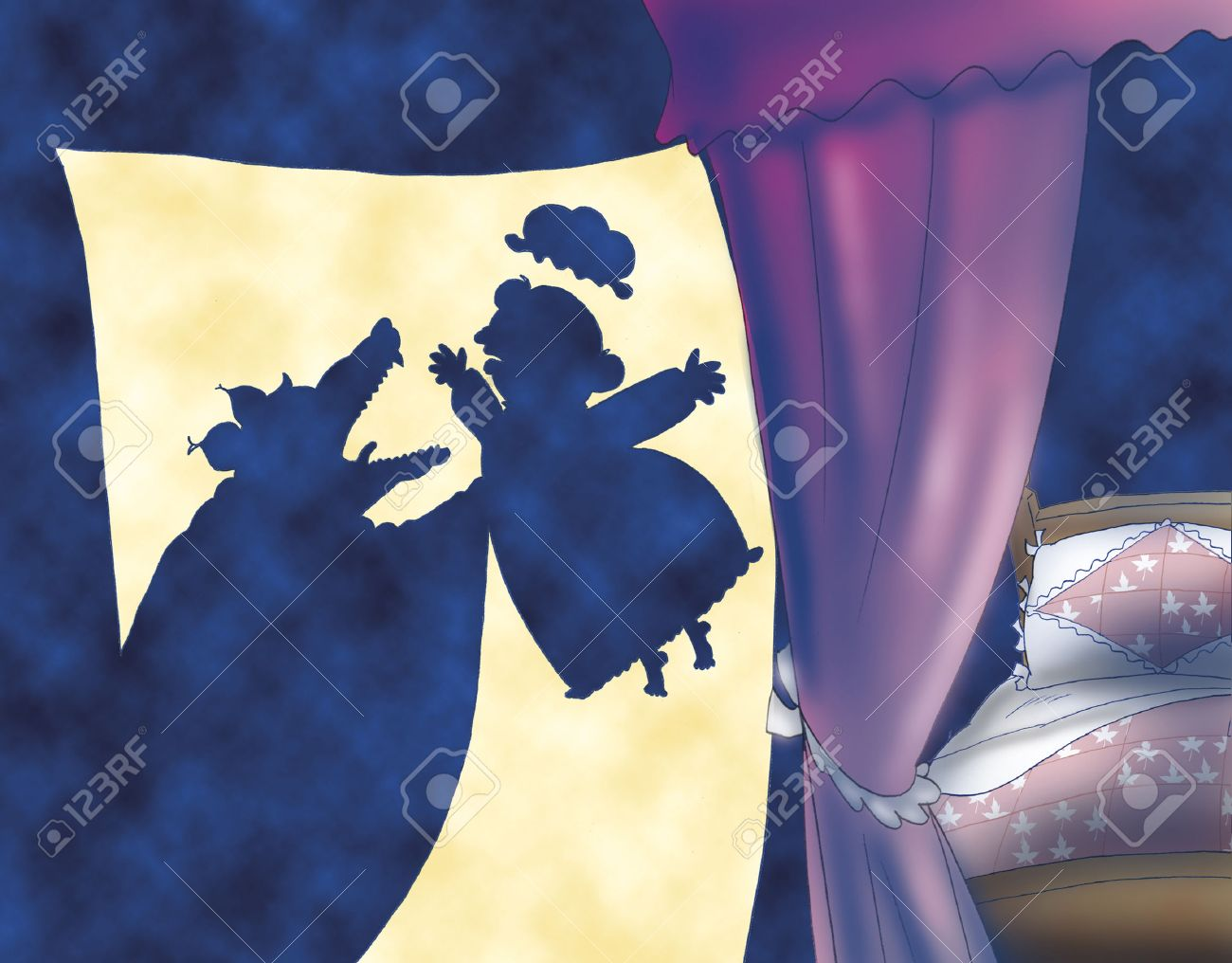 The wolf eating Red Riding Hood granny Stock Photo - 42035511