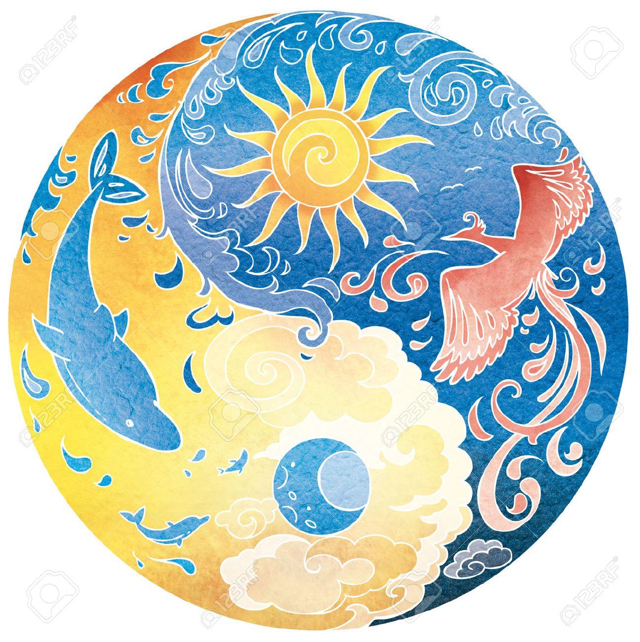 Tao Sri Amma Bhagavan Diksha mandala. Night and day. Stock Photo - 43566449
