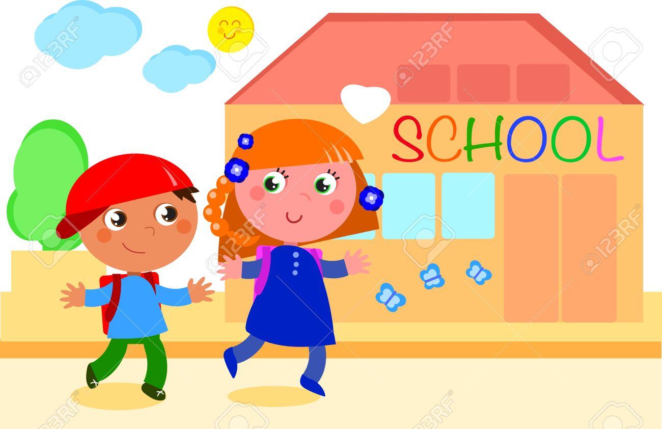 niño y niña feliz de ir a la escuela ilustración digital
