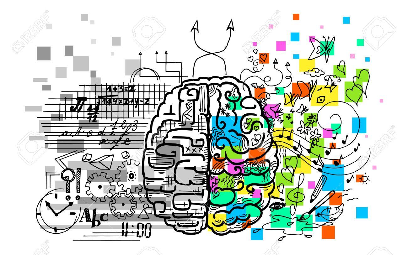 Brain hemispheres. Right is emotions, intuitions, creativity. Left is logic, reason, verbal. - 52871508