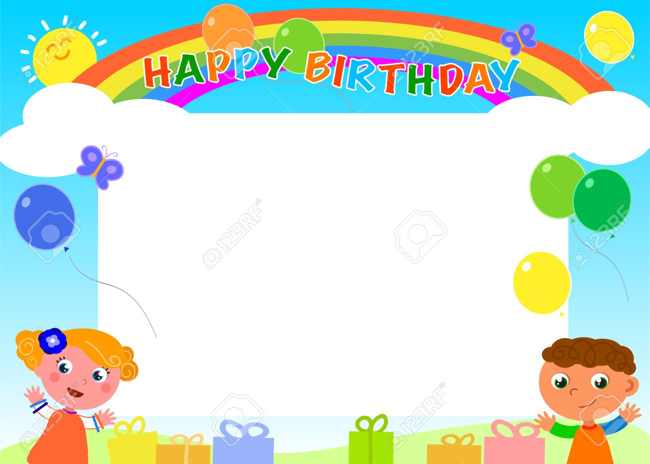 Happy Birthday Frame With Rainbow Kids And Balloons Royalty Free ...