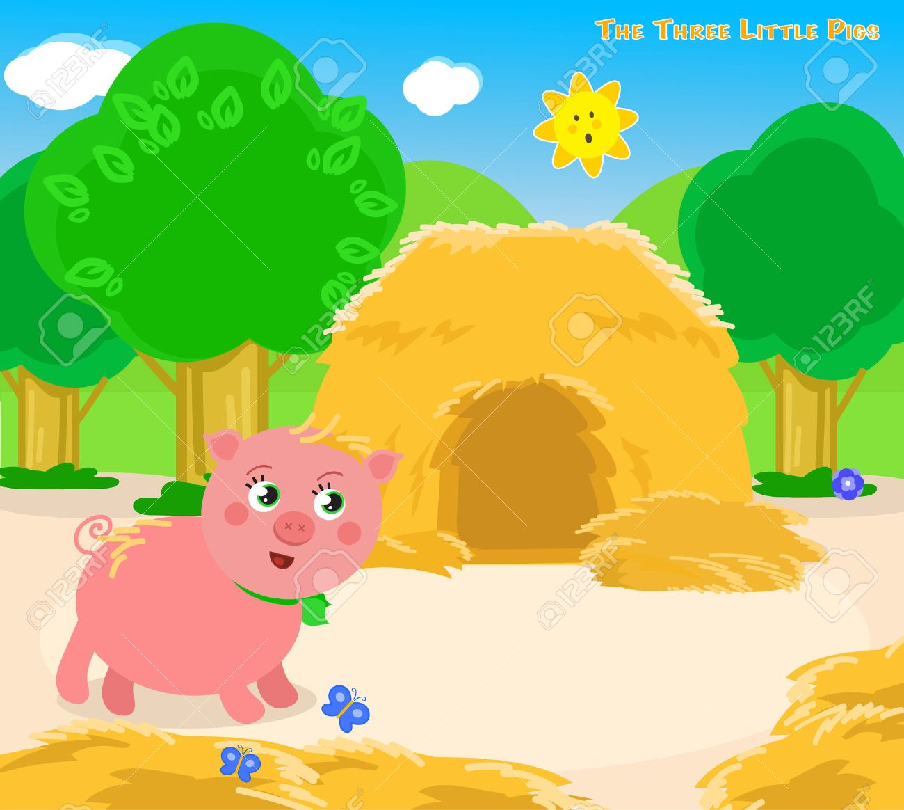 The first of the three little pigs builds a straw house. Stock Vector - 53926963