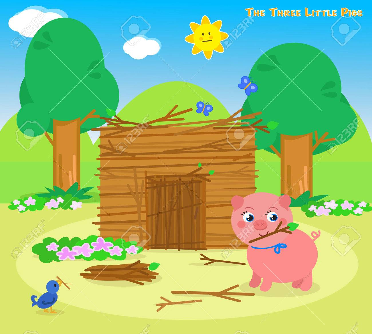 The three little pigs, second piglet builds a sticks house Stock Vector - 53927019
