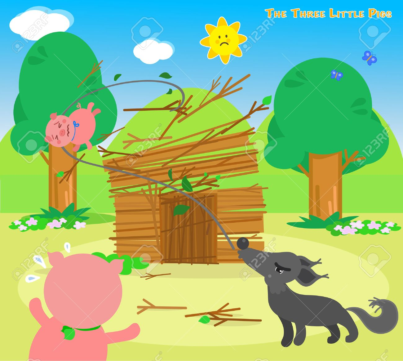 The three little pigs, wolf destroys the sticks house Stock Vector - 53927018