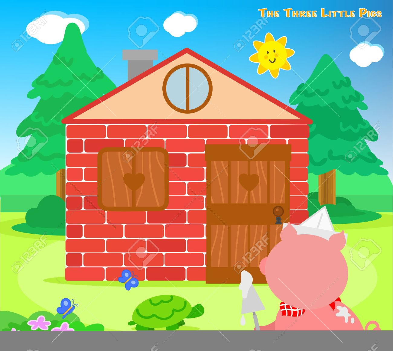 The three little pigs: the third piglet finished the bricks house Stock Vector - 53927022