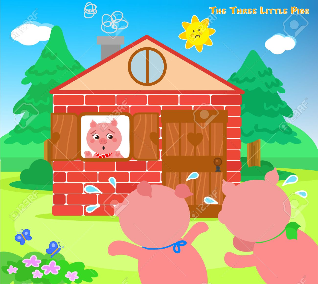 The three little pigs very scared running to the bricks house Stock Vector - 54420971