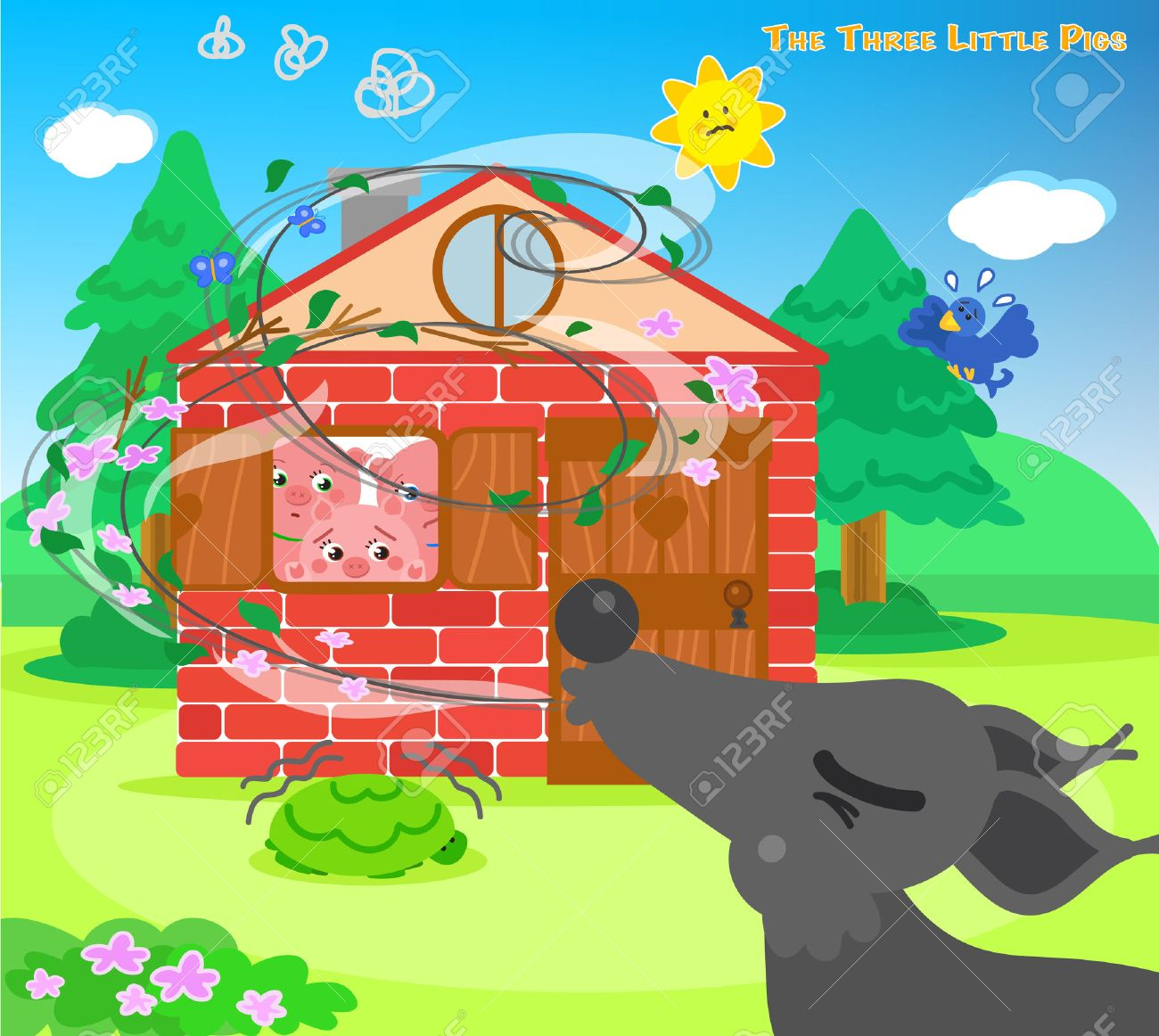 The three scared pigs are hiding in the bricks house while the big bad wolf is blowing - 54420972