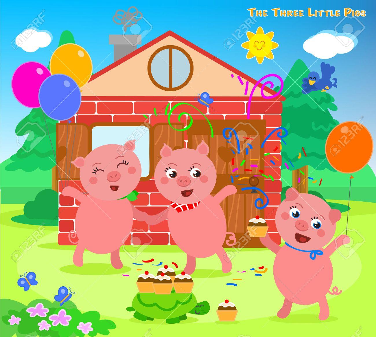 The three little pigs folktale happy ending - 54421184