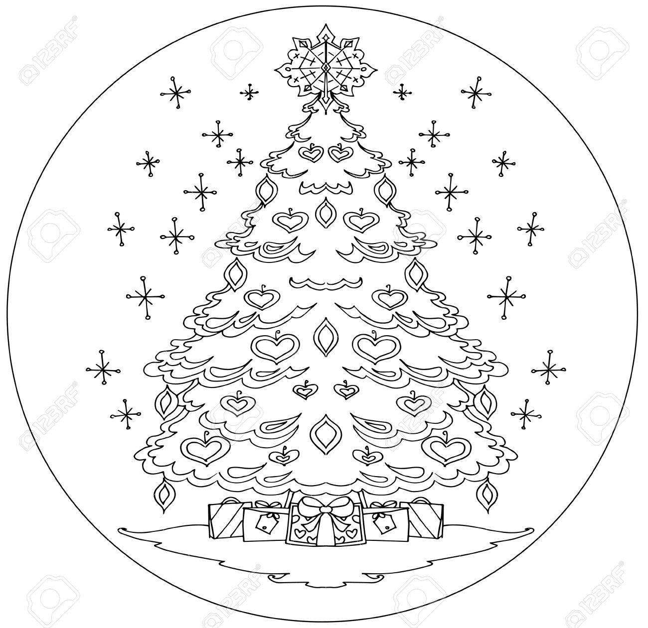Mandalas Para Colorear árbol De Navidad Sobre Un Fondo Blanco