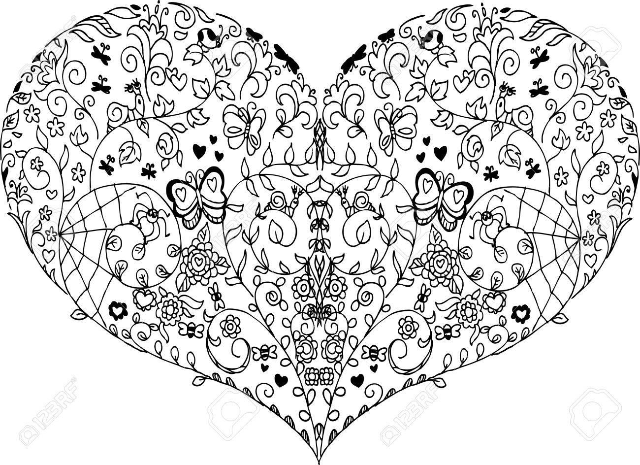 Colorear Mandala Corazón Con Elementos De Resorte Vector ...