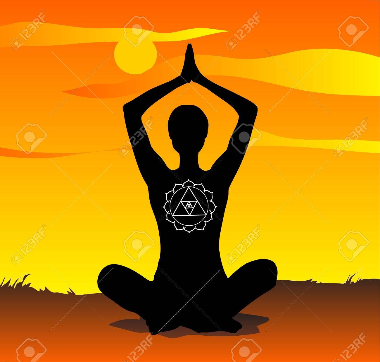 Yoga At Sunset Meditation Poses Vector Royalty Free Cliparts