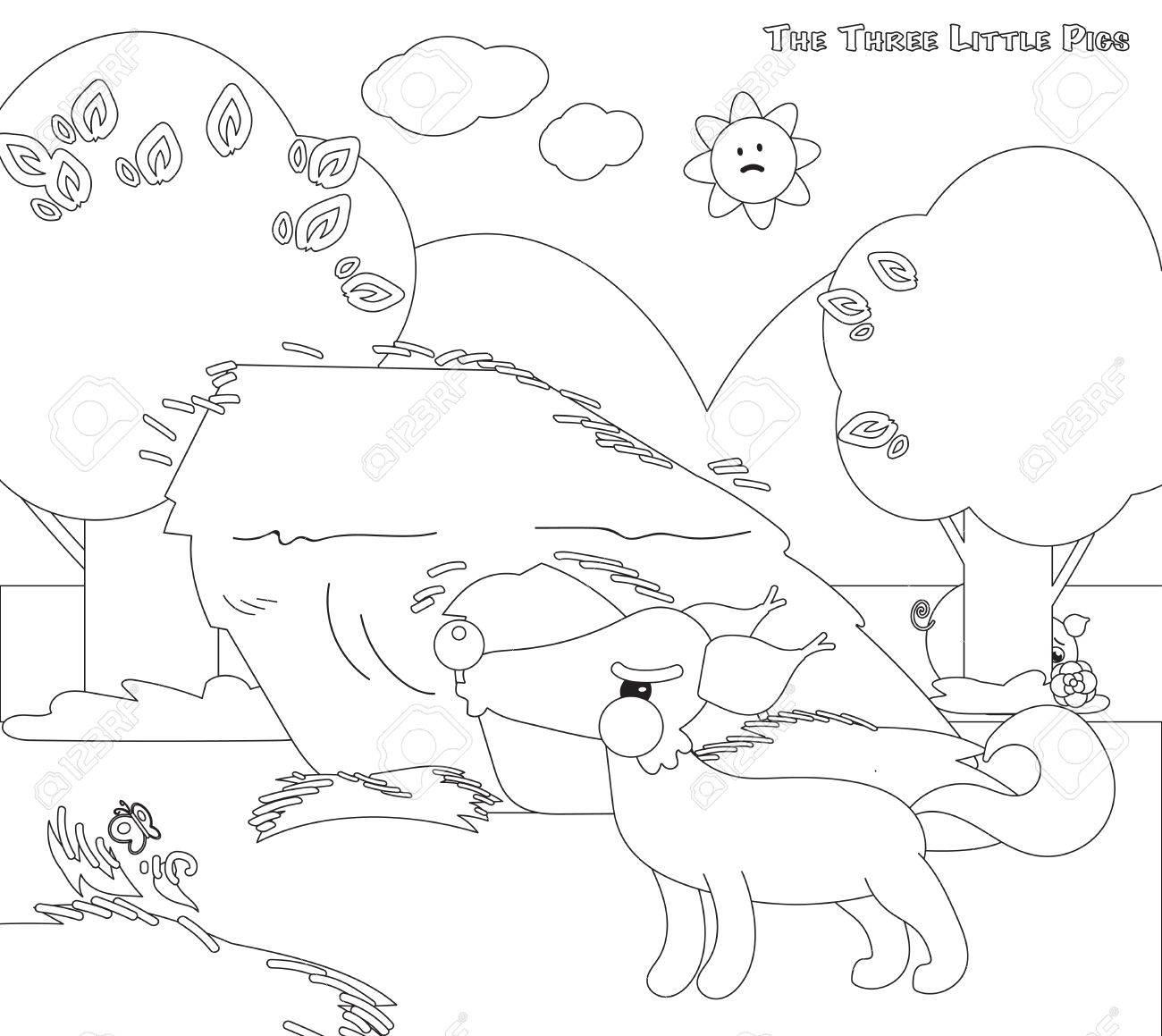 Encantador Tres Pequeñas Casas De Cerdos Para Colorear Motivo ...